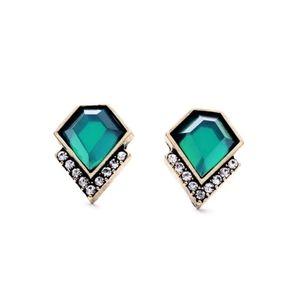 Green Rhinestone Vintage Gold Stud Earrings
